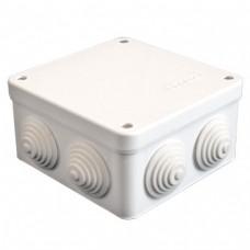 Коробка разветвительная ОП 7 выходов 4 гермоввода IP54 105х105х56 полипропилен крышка на винтах белый