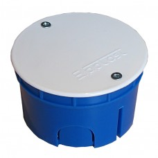 Коробка разветвительная СП D=70х45 полипропилен крышка на винтах корпус синий крышка белая