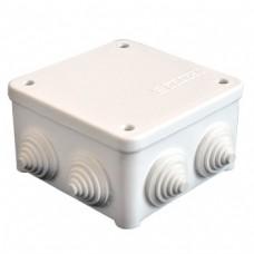 Коробка разветвительная ОП 7 выходов 3 гермоввода IP54 85х85х45 полипропилен крышка на винтах белый