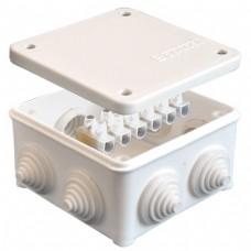 Коробка разветвительная ОП 7 выходов 3 гермоввода IP54 85х85х45 полипропилен крышка на винтах колодка клеммная 10А 6 контактов белый
