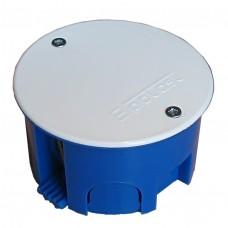 Коробка разветвительная СП D=70х40 полипропилен с пластиковыми лапками крышка на винтах корпус синий крышка белая