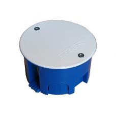 Коробка разветвительная СП D=80х45 полипропилен с пластиковыми лапками крышка на винтах корпус черный крышка белая
