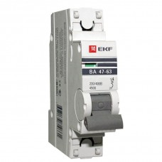 Автомат 1П 16А хар-ка B 4,5кА ВА47-63 PROxima EKF  mcb4763-1-16B-pro