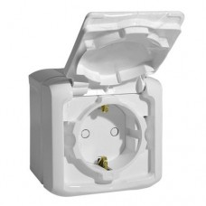 Розетка Quteo 1ОП с/з с/шт с крышкой 16А IP44 в сборе белый