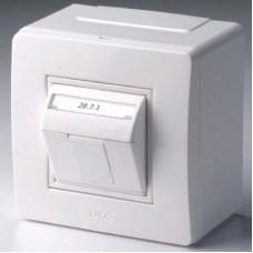Коробка в сборе с 1 розеткой RJ45 Cat 5e Комп/ТФ белая DKC