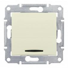 Выключатель Седна 1СП с/п 10А IP20 механизм с синей подсветкой бежевый  SDN1400147