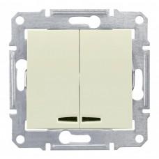 Выключатель Седна 2СП с/п 10А IP20 механизм с синей подсветкой бежевый  SDN0300347