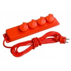 Удлинитель силовой ПВС 3х1 4гн с/з б/шт б/выкл с крышкой IP44 красный 5м У04В-N IEK