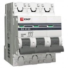 Автомат 3П 25А хар-ка B 4,5кА ВА47-63 PROxima EKF  mcb4763-3-25B-pro
