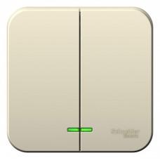 Выключатель Бланка 2ОП с/п 10А IP20 в сборе молочный  BLNVA105112