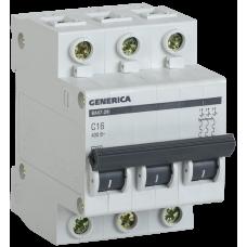 Автомат 3П 63А хар-ка C 4,5кА ВА47-29 Generica IEK  MVA25-3-063-C