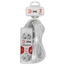 Удлинитель бытовой ПВС 3х0,75 3гн с/з б/шт б/выкл белый 3м U-3e-3m ЭРА  Б0019225