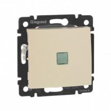 Выключатель Валена 1СП с/п 10А IP31 механизм зеленый индикатор слоновая кость  774310