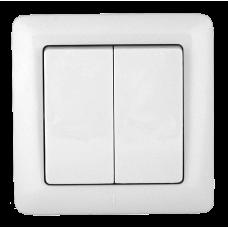 Выключатель Хит 2СП б/п 6А IP20 в сборе белый  VS56-234-B