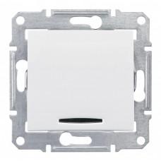 Выключатель Седна 1СП с/п 10А IP20 механизм с красной индикацией белый  SDN0400321