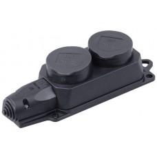 Колодка 2гн с/з 16А с крышкой IP44 черный каучук ОМЕГА IEK