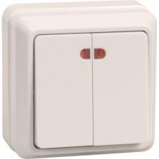 Выключатель Октава 2ОП с/п 10А IP20 в сборе ВС20-2-1-ОКм кремовый