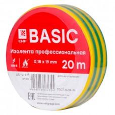 Изолента ПВХ 0,18х19мм 20м желто-зеленая PROxima EKF  plc-iz-a-yg