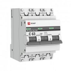 Автомат 3П 63А хар-ка C 4,5кА ВА47-63 PROxima EKF  mcb4763-3-63C-pro