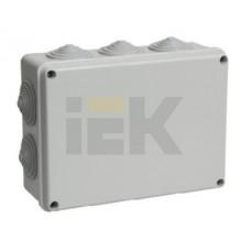 Коробка КМ41244 распаячная для о/п 190х140х70мм IP55 (RAL7035, 10вводов) ИЭК