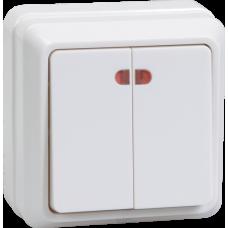 Выключатель Октава 2ОП с/п 10А IP20 в сборе ВС20-2-1-ОБ белый  EVO21-K01-10-DC