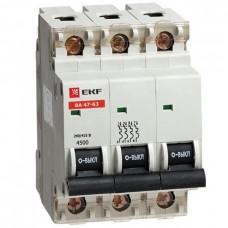 Автомат 3П 20А хар-ка C 4,5кА ВА47-63 EKF  mcb4763-3-20C