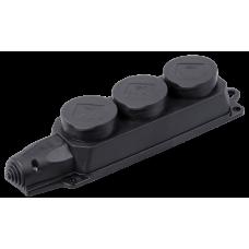 Колодка 3гн с/з 16А с крышкой IP44 черный каучук ОМЕГА IEK