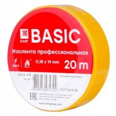 Изолента ПВХ 0,18х19мм 20м желтая PROxima EKF