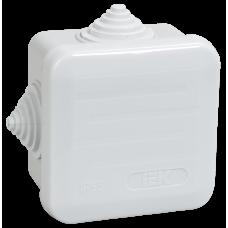 Коробка КМ41236 распаячная для о/п 70х70х40мм IP44 (RAL7035, 4ввода, защ. крышка) ИЭК