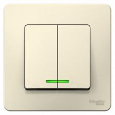 Выключатель Бланка 2СП с/п 10А IP20 в сборе молочный