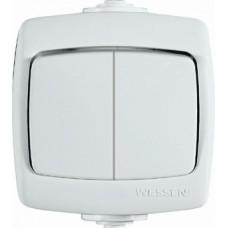 Выключатель Рондо 2ОП б/п 10А IP44 в сборе белый  VA510-228B-BI