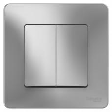 Выключатель Бланка 2СП б/п 10А IP20 в сборе алюминий  BLNVS010503