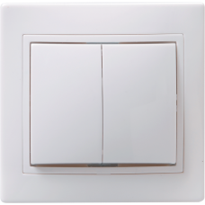 Выключатель Кварта 2СП б/п 10А IP20 в сборе ВС10-2-0-КБ белый  EVK20-K01-10-DM
