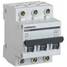 Автомат 3П 16А хар-ка C 4,5кА ВА47-29 Generica IEK  MVA25-3-016-C