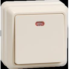 Выключатель Октава 1ОП с/п 10А IP20 в сборе ВС20-1-1-ОКм кремовый  EVO11-K33-10-DC