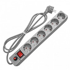 Сетевой фильтр ПВС 3х0,75 6гн с/з с/шт с/выкл серый 3м UNIVersal