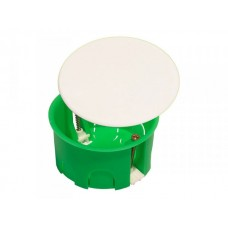 Коробка разветвительная 80х45 IP30 6 вводов, круглая с крышкой, пласт. лапки (180шт/кор)  КР1202