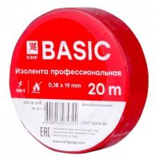 Изолента, класс А (профессиональная), 0.18х19мм, 20 метров, красная EKF  plc-iz-a-r