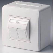 Коробка в сборе 1ОП 2 розетки RJ45/RJ11 Cat 5e белый DKC  10656