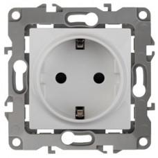 Розетка Эра12 1СП с/з с/шт 16А IP20 механизм 12-2102-01 белый  Б0014687