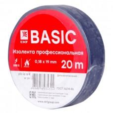 Изолента, класс А (профессиональная), 0.18х19мм, 20 метров, синяя EKF  plc-iz-a-s