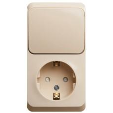 Блок комб Этюд выкл 1ОП + розетка 1ОП с/з с/шт б/п 16А IP20 кремовый  BPA16-201K