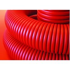 Гофротруба гибкая двустенная для кабельной канализации д 90мм с протяжкой красная 50м DKC DKC 121990