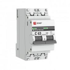 Автомат 2П 63А хар-ка C 4,5кА ВА47-63 PROxima EKF  mcb4763-2-63C-pro