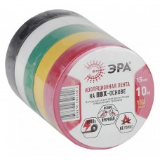 Изолента ПВХ 0,15х15мм черная белая красная желтая зеленая 10м 43966/43959 ЭРА  C0038781