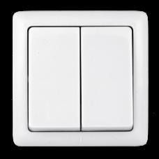 Выключатель Хит 2ОП б/п 6А IP20 в сборе белый  VA56-232-B