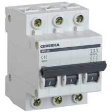 Автомат 3П 25А хар-ка C 4,5кА ВА47-29 Generica IEK  MVA25-3-025-C