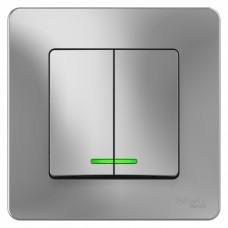 Выключатель Бланка 2СП с/п 10А IP20 в сборе алюминий