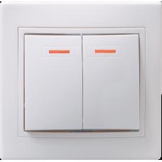 Выключатель Кварта 2СП с/п 10А IP20 в сборе ВС10-2-1-КБ белый  EVK21-K01-10-DM