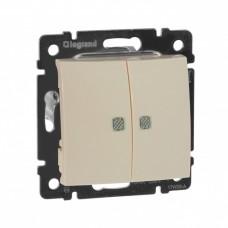 Выключатель Валена 2СП с/п 10А IP31 механизм зеленый индикатор слоновая кость  774328